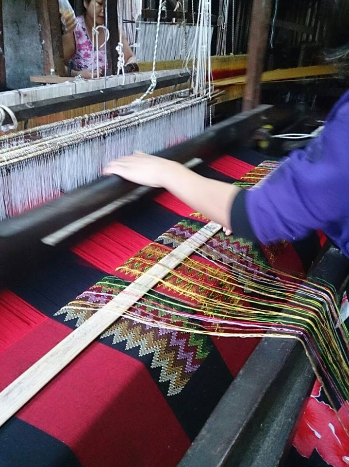 Picture of weaving using a handloom