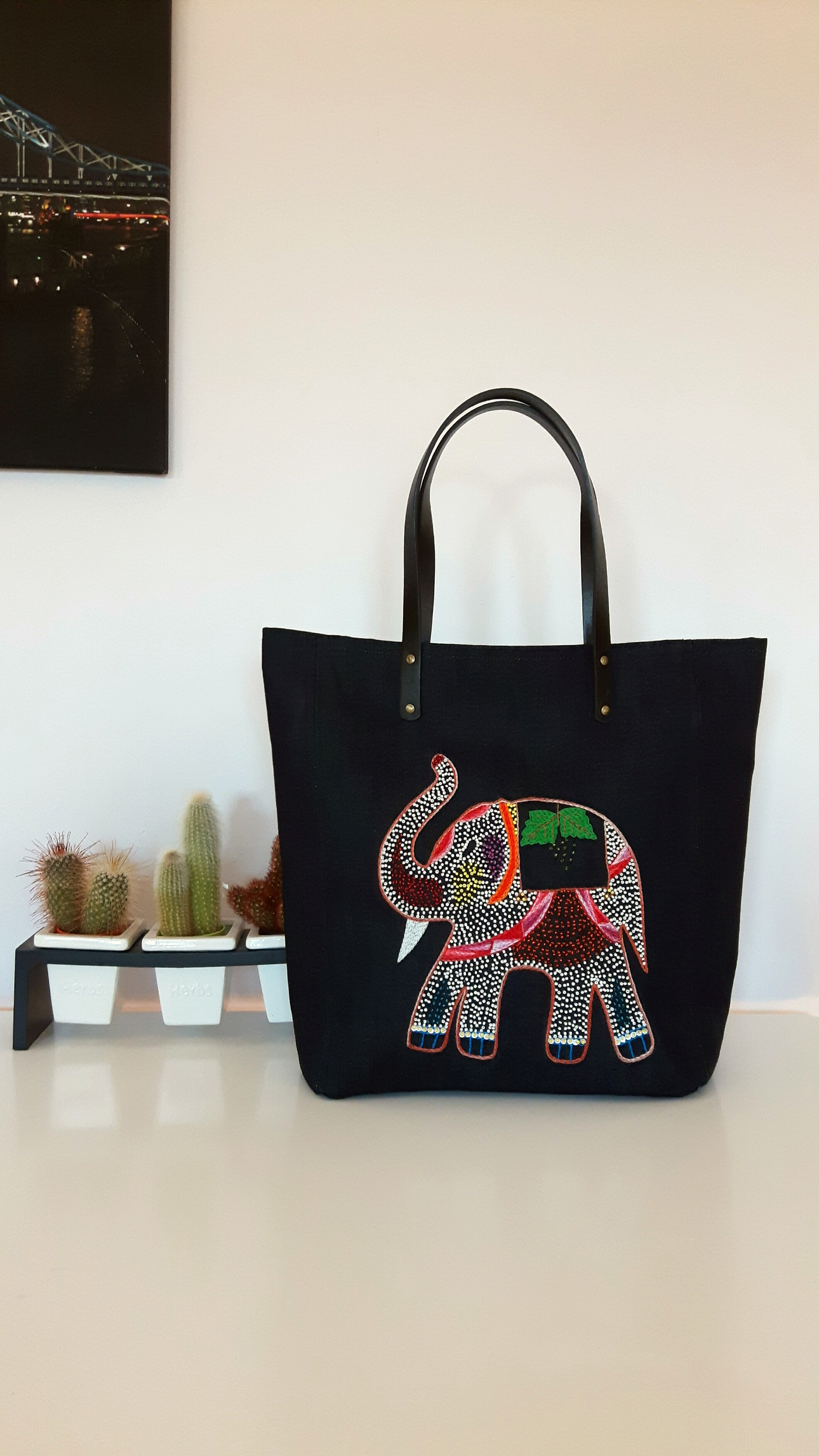 Fair trade hand embroidered elephant tote bag in sequins