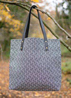 Silvery black and white tote bag