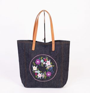 Hand embroidered floral tote bag