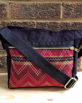 Black and red crossbody bag