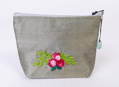 Silk embroidered purse