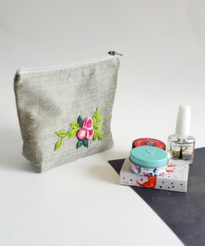 Silk purse hand embroidered