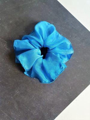 Blue Silk Scrunchie