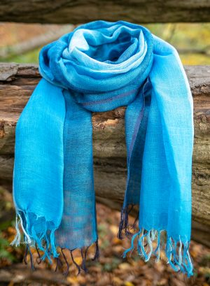 Linen Scarf -light blue and mid blue mixed-block