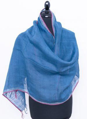Ocean blue linen scarf