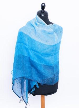 Linen scarf in Range of blue