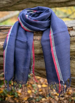Dark blue Linen scarf