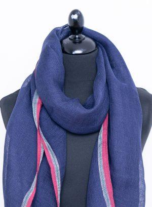 Navy blue linen scarf