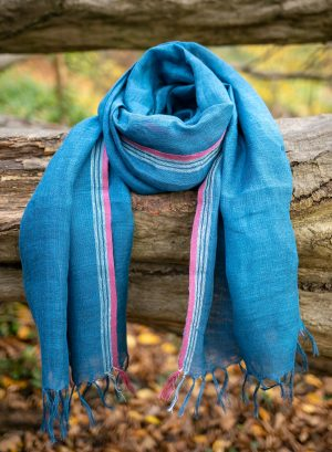 Linen Scarf with tassels Ocean blue