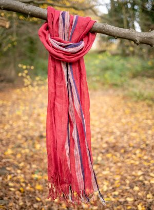 Red Linen Scarf with borders
