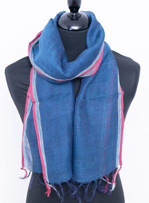 skinny linen scarf aegean blue