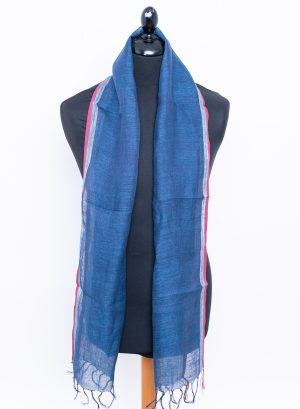 Aegean blue men's linen scarf