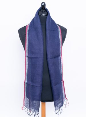 Navy blue men's linen scarf