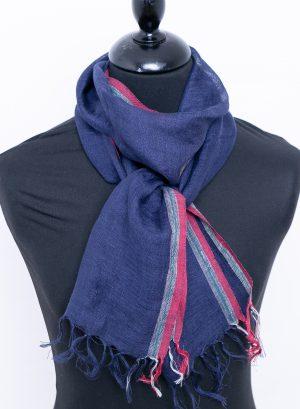 Dark blue small linen scarf