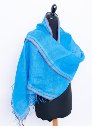Sky blue linen scarf with red stripe