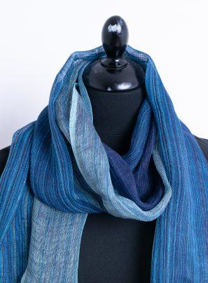 Striped blue linen