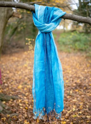 Checked blue Linen Scarf