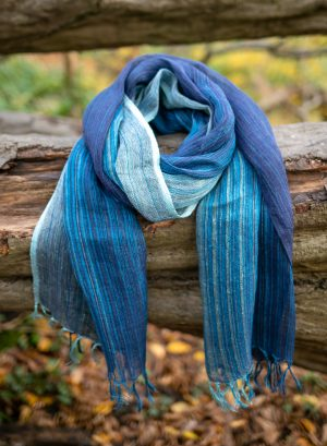 Striped Linen Scarf-Fair trade