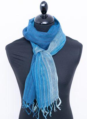 Striped blue linen scarf