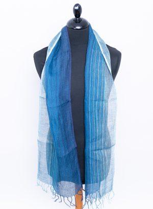 Striped blue skinny Linen scarf