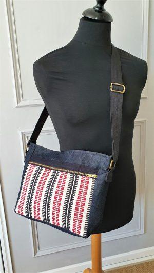 Crossbody bag-denim and red white woven fabric